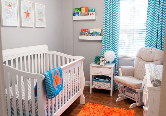 idei-camera-bebe-albastru-cu-portocaliu